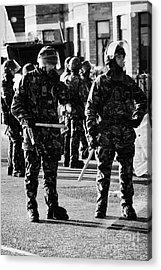British Army Soldiers In Riot Gear On Crumlin Road At Ardoyne Shops Belfast 12th July Acrylic Print by Joe Fox