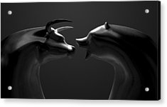 Bull And Bear Market Trend Bronze Castings Acrylic Print by Allan Swart