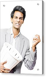 Business Man Throwing A Frustrated Tantrum Acrylic Print by Jorgo Photography - Wall Art Gallery