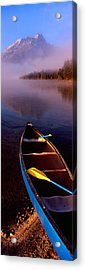 Canoe In Lake In Front Of Mountains Acrylic Print by Panoramic Images