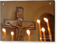 Carving Of Jesus Christ On The Cross Inside Tsminda Sameba Cathedral Tbilisi Acrylic Print by Robert Preston