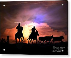 Cattle Drive Acrylic Print by Stephanie Laird