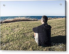 Caucasian Traveler Relaxing On Grass Outdoors Acrylic Print by Jorgo Photography - Wall Art Gallery