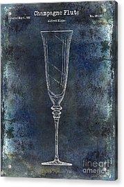 Champagne Flute Patent Drawing Blue 2 Acrylic Print by Jon Neidert