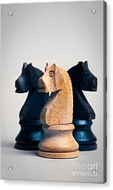 Chess Knights Acrylic Print by Mark Fearon