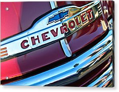 Chevrolet Pickup Truck Grille Emblem Acrylic Print by Jill Reger