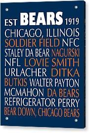 Chicago Bears Acrylic Print by Jaime Friedman