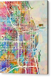 Chicago City Street Map Acrylic Print by Michael Tompsett