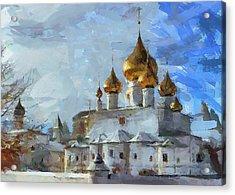 Church In Winter Acrylic Print by Yury Malkov