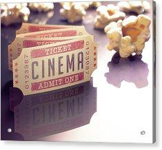 Cinema Tickets And Popcorn Acrylic Print by Ktsdesign