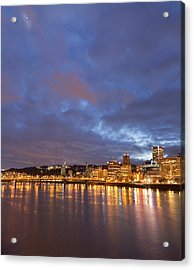 City Lights Reflected In The Willamette Acrylic Print by William Sutton