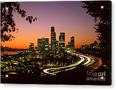 City Of Seattle Skyline Acrylic Print by King Wu