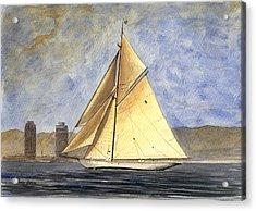 Classic Yacht Barcelona Acrylic Print by Juan  Bosco