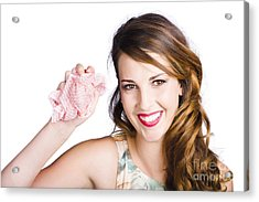 Cleaner Woman With Dish Cloth Acrylic Print by Jorgo Photography - Wall Art Gallery
