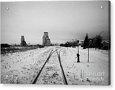 Cn Canadian National Railway Tracks And Grain Silos Kamsack Saskatchewan Canada Acrylic Print by Joe Fox