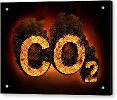 Co2 Symbol Burning Acrylic Print by Andrzej Wojcicki