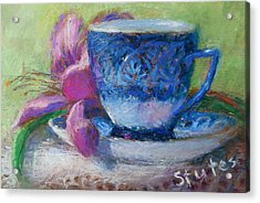 Coffee And Flowers Acrylic Print by Nancy Stutes