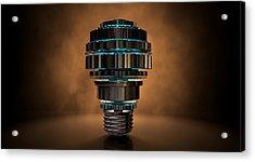 Cogwheel Lightbulb Shape Concept Acrylic Print by Allan Swart