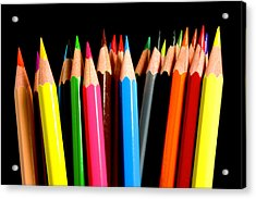 Colored Pencils Acrylic Print by Michael Tompsett