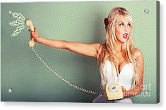 Comic Portrait Of A Blond Pin-up Girl With Phone Acrylic Print by Jorgo Photography - Wall Art Gallery