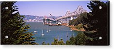 Cranes At A Bridge Construction Site Acrylic Print by Panoramic Images