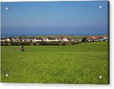 Crop Spraying Barley,near Ballintrae Acrylic Print by Panoramic Images