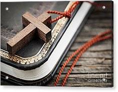Cross On Bible Acrylic Print by Elena Elisseeva