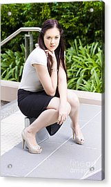 Cute Lady Making An Executive Business Decision Acrylic Print by Jorgo Photography - Wall Art Gallery