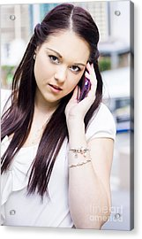 Cute Sales Woman Discussing Business Deal On Phone Acrylic Print by Jorgo Photography - Wall Art Gallery