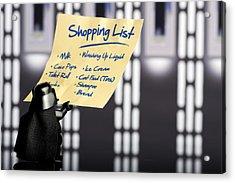 Darth's Shopping List Acrylic Print by Samuel Whitton
