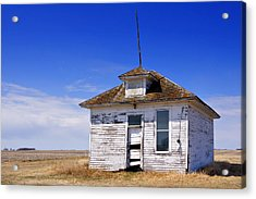 Defunct One Room Country School Building Acrylic Print by Donald  Erickson