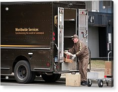 Deliver Driver Loading His Van Acrylic Print by Jim West