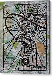 Derailluer On Map Acrylic Print by William Cauthern