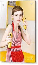 Dietician Shooting Banana Guns In Kitchen Acrylic Print by Jorgo Photography - Wall Art Gallery