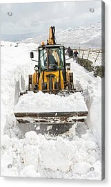 Digger Clearing Snow Drifts Acrylic Print by Ashley Cooper