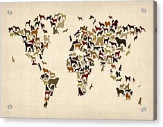 Dogs Map Of The World Map Acrylic Print by Michael Tompsett