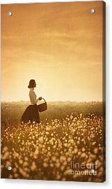 Edwardian Woman In A Meadow At Sunset Acrylic Print by Lee Avison