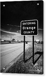 Entering Orange County On The Us 192 Highway Near Orlando Florida Usa Acrylic Print by Joe Fox
