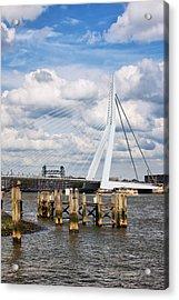 Erasmus Bridge In Rotterdam Acrylic Print by Artur Bogacki