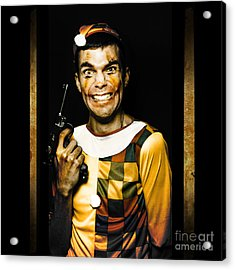 Evil Clown Holding Gun In Horror House Doorway Acrylic Print by Jorgo Photography - Wall Art Gallery