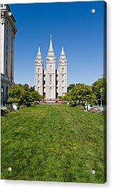 Facade Of A Church, Mormon Temple Acrylic Print by Panoramic Images