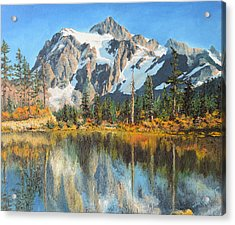 Fall Reflections - Cascade Mountains Acrylic Print by Mary Ellen Anderson