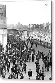 Fans Leaving Yankee Stadium. Acrylic Print by Underwood Archives