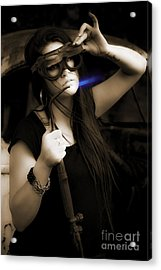 Female Mechanic Using Industrial Welder Acrylic Print by Jorgo Photography - Wall Art Gallery