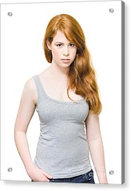 Fiery And Unhappy Woman With Red Hair Acrylic Print by Jorgo Photography - Wall Art Gallery