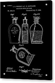 Flask Patent 1888 - Black Acrylic Print by Stephen Younts