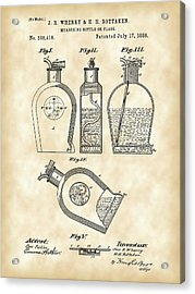 Flask Patent 1888 - Vintage Acrylic Print by Stephen Younts