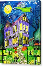 Flight Of The Moon Witch On Hallows Eve Acrylic Print by Janet Immordino