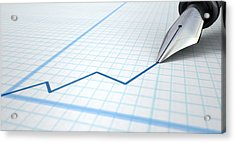 Fountain Pen Drawing Increasing Graph Acrylic Print by Allan Swart