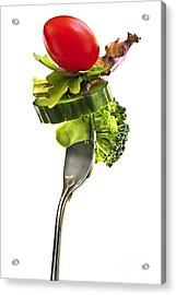 Fresh Vegetables On A Fork Acrylic Print by Elena Elisseeva